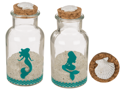 Round glass bottle with cork lid, mermaid,