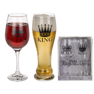 Set di bicchieri, King & Queen,