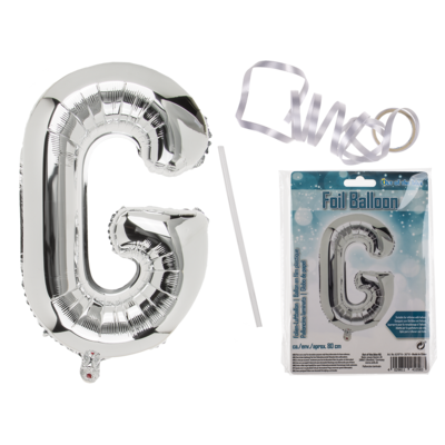 Silver coloured foil balloon, letter G,