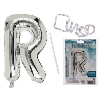 Silver coloured foil balloon, letter R,