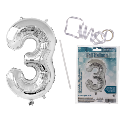 Silver coloured foil balloon, number 3,