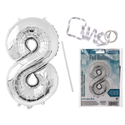 Silver coloured foil balloon, number 8,