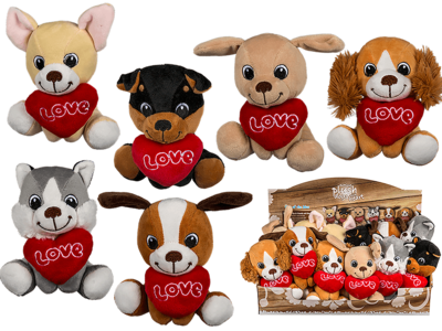 Sitting plush dogs with heart,