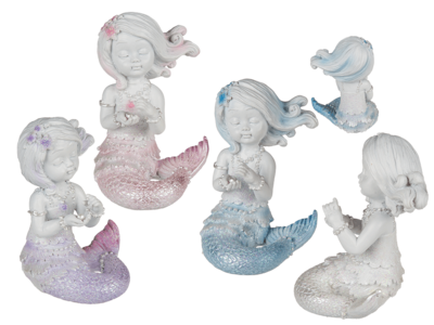 Sitting Polyresin Mermaid with Pearl & Glitter,