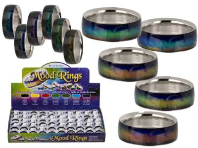 Stainless steel mood ring, Waves,