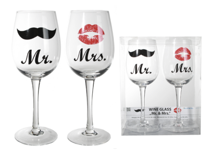 Wine glass with Kiss and Moustache decor for,
