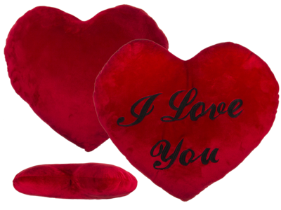 XXL-Red plush heart, I LOVE YOU,