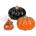 Candle, pumpkin with glitter,