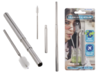 Extendable metal drinking straw with cleaning