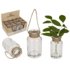 Glass vase with jute handle for hanging,