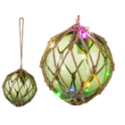 Green Glas ball in rope net,
