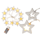 Light chain, wooden star with 10 warm white LED