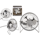 Metal desktop fan, shiny chrome,
