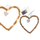 Rattan heart with white ribbon,