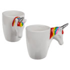 White mug unicorn head grip,