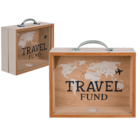 Wooden savings box, Travel Fund,